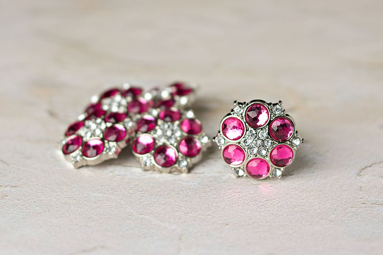 Abbey - Hot Pink/Clear Rhinestone Button