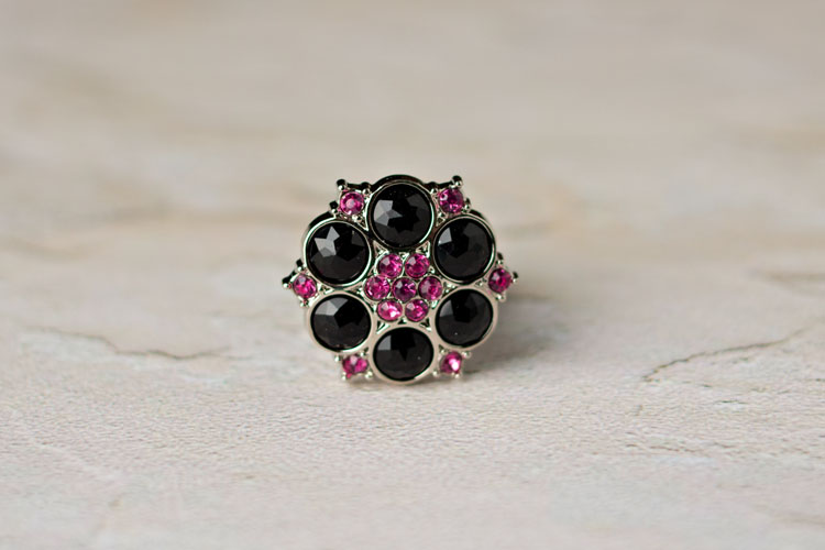 Abbey - Black/Hot Pink Rhinestone Button