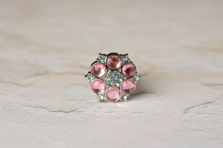 Abbey - Light Pink/Clear Rhinestone Button