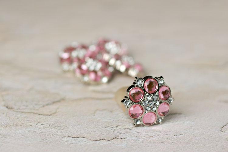Abbey - Light Pink/Clear Rhinestone Button