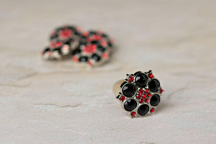 Abbey - Black/Red Rhinestone Button