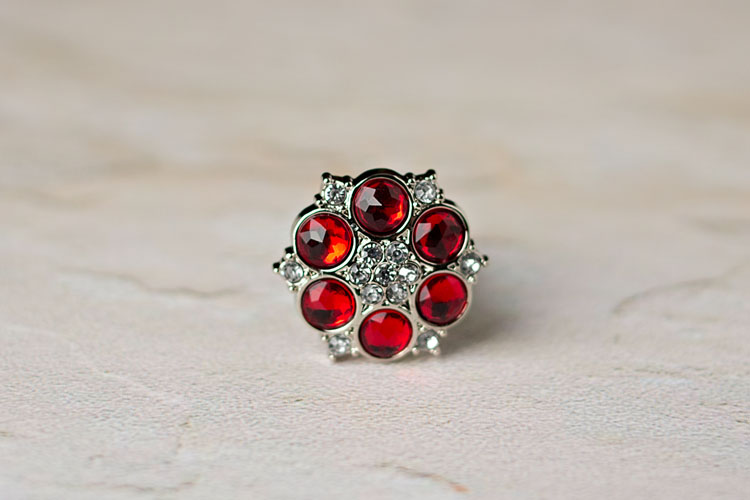 Abbey - Red/Clear Rhinestone Button