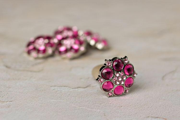 Abbey - Hot Pink/Blushing Pink Rhinestone Button