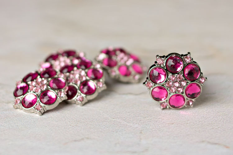 Abbey - Hot Pink/Blushing Pink Rhinestone Button