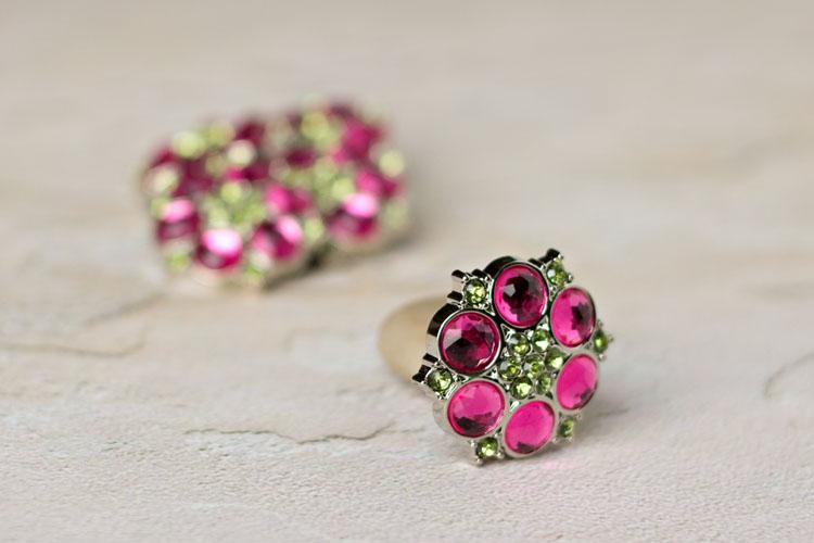 Abbey - Hot Pink/Artichoke Rhinestone Button