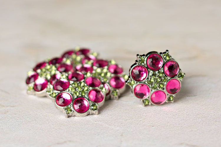 Abbey - Hot Pink/Artichoke Rhinestone Button
