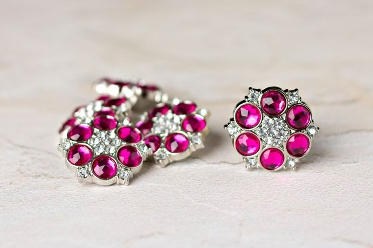 Abbey - Fuchsia/Clear Rhinestone Button