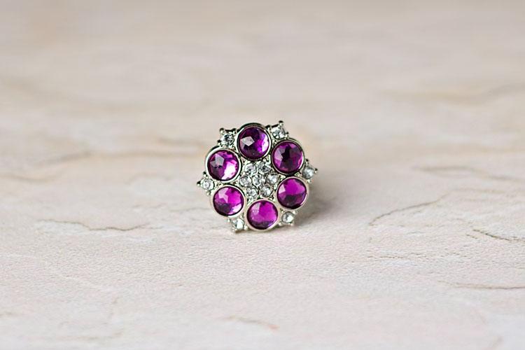 Abbey - Purple/Clear Rhinestone Button