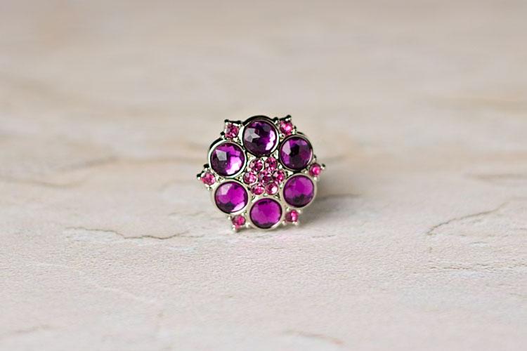 Abbey - Purple/Pink Rhinestone Button