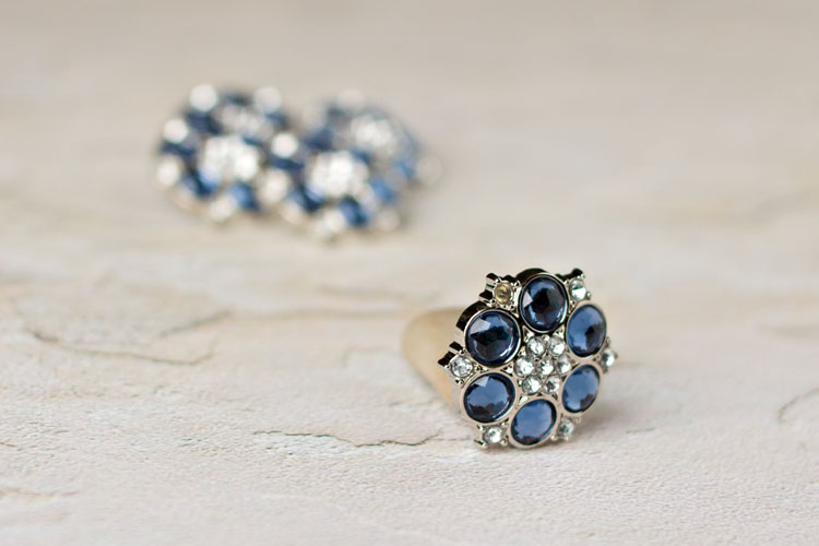 Abbey - Navy/Clear Rhinestone Button