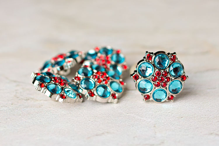Abbey - Turquoise/Red Rhinestone Button