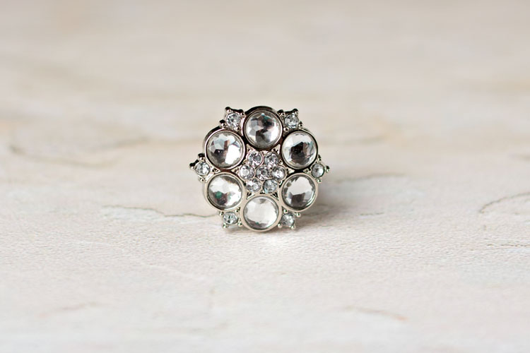 Abbey - Clear Rhinestone Button