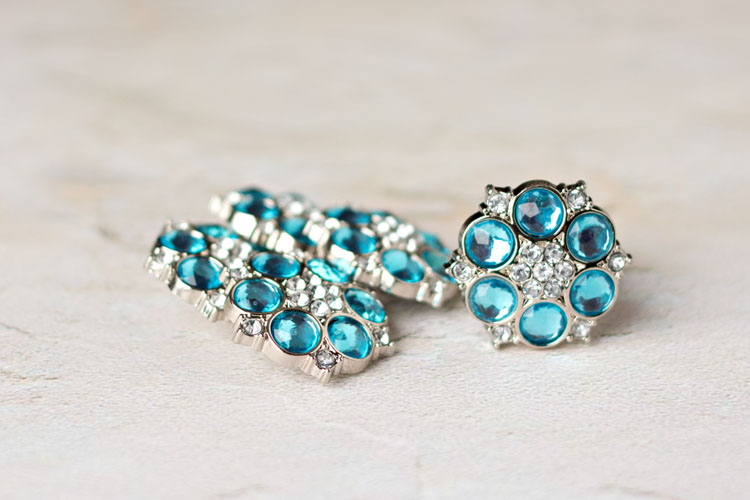 Abbey - Turquoise/Clear Rhinestone Button