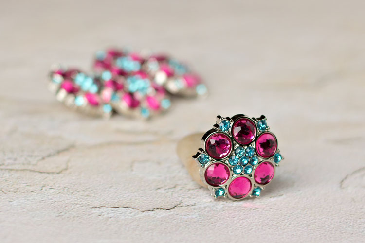 Abbey - Hot Pink/Turquoise Rhinestone Button