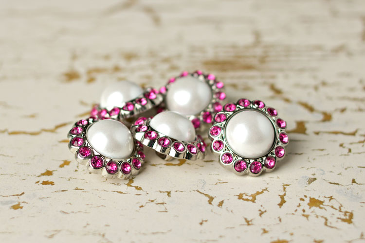 Amelia - White Pearl/Hot Pink Rhinestone Button