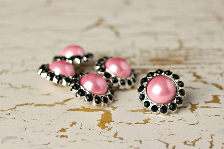 Amelia - Pink Pearl/Black Rhinestone Button