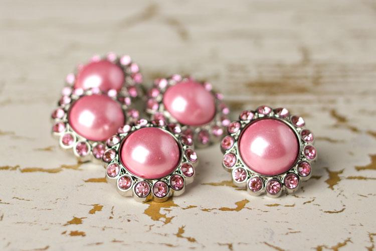 Amelia - Pink Pearl/Pink Rhinestone Button