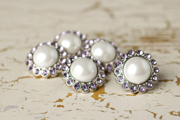 Amelia - White Pearl/Lavender Rhinestone Button