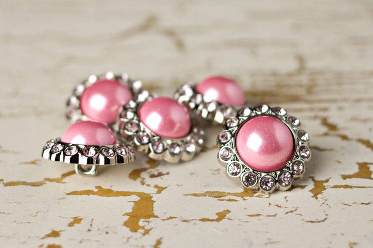 Amelia - Pink Pearl/Light Pink Rhinestone Button