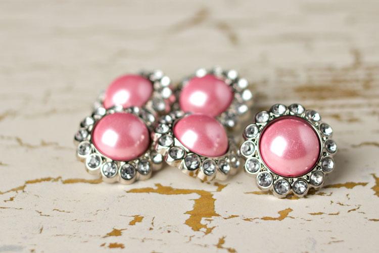 Amelia - Pink Pearl/Clear Rhinestone Button