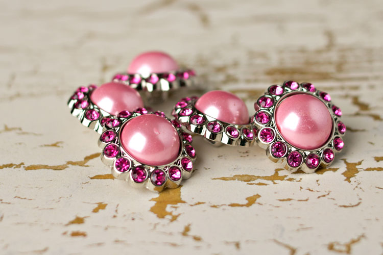 Amelia - Pink Pearl/Hot Pink Rhinestone Button