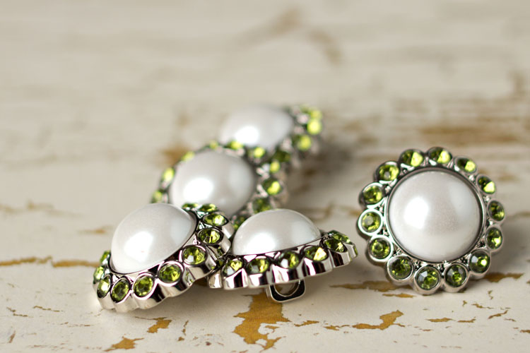 Amelia - White Pearl/Artichoke Rhinestone Button