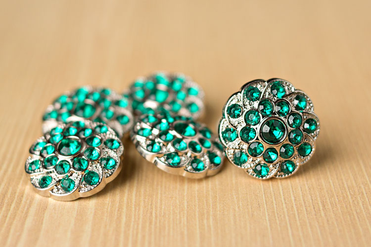 Shelley - Green Rhinestone Button