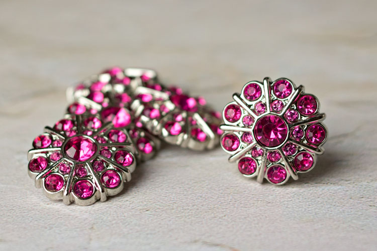 Emma - Hot Pink Rhinestone Button