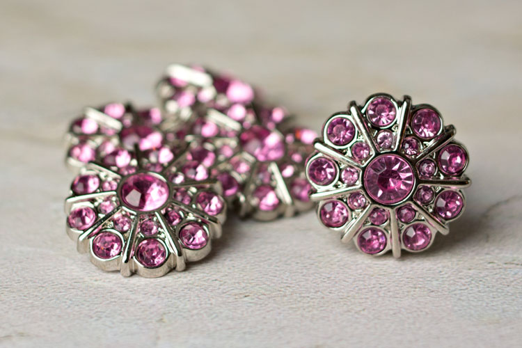 Emma - Light Pink Rhinestone Button