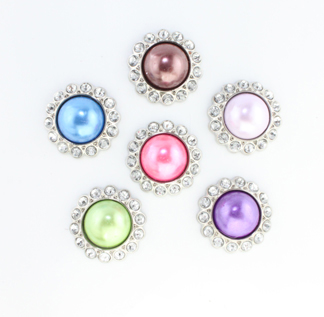 Blingy Pearl Rhinestone Button Colored Amelia