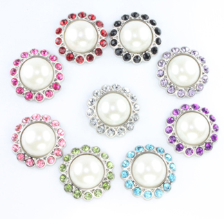 Blingy  Pearl Rhinestone Button Off-WhiteAmelia