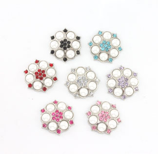 Blingy Rhinestone Button Abbey- White Pearl